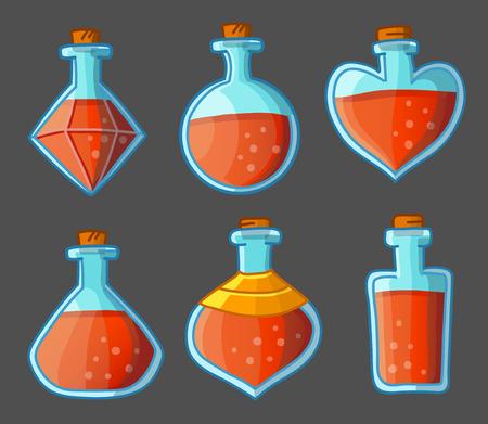 Inzameling van rode magische flessen. Vector illustratie. Geïsoleerd op donkere