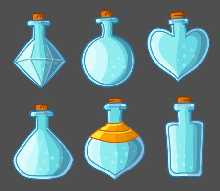 elixir: Colección de botellas vacías de magia Vectores