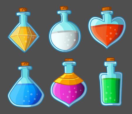 elixir: Colección de seis botellas mágicas. Ilustración del vector. Aislado en el oscuro