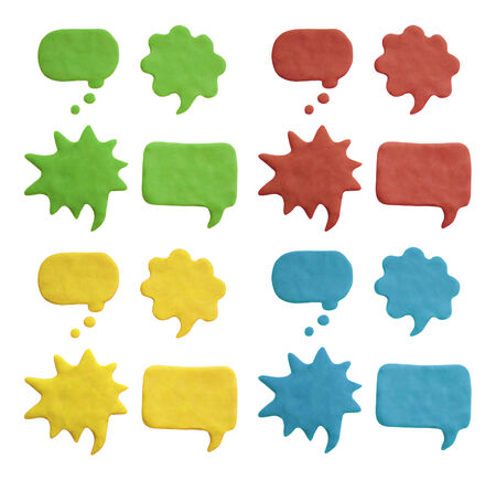 Plasticine speech bubbles. Isolated on white