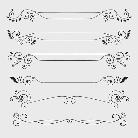 separator: Vintage black curl text dividers isolated on white. Vector illustration