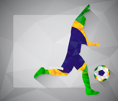 Brazilian football player with ball in triangles. Vector illustration Vector