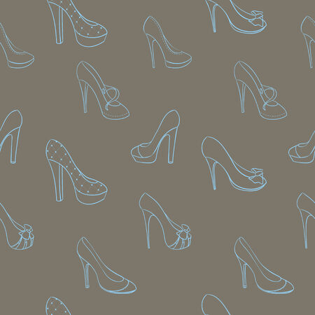 shoes vector: Seamless background with shoes in sketch style. Vector illustration