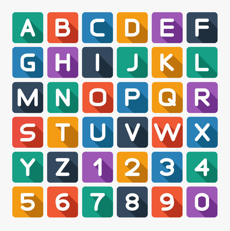 Flat alphabet rounded. Isolated on white.  Çizim