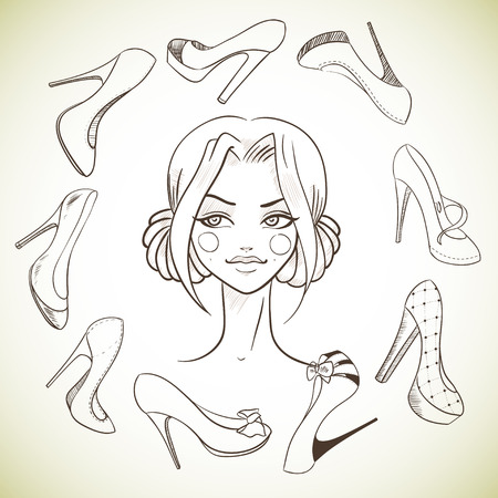 stylish woman: Girl and shoes. Sketch style. Vector illustration
