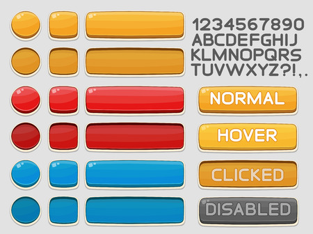 blue button: Interface buttons set for games or apps. Vector illustration. Easy to edit. Isolated on white