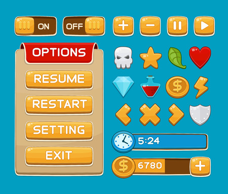 Interface buttons set for games or apps. Vector illustration. Easy to edit. Isolated on blue Ilustração