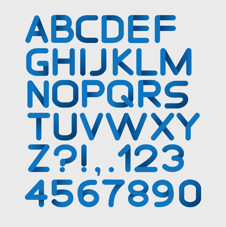 white letters: Paper blue strict alphabet rounded. Isolated on white. Vector illustration