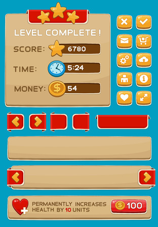 Interface buttons set for games or apps. Vector illustration. Easy to edit. Isolated on blue Ilustrace
