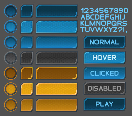 screen: Interface buttons set for space games or apps.