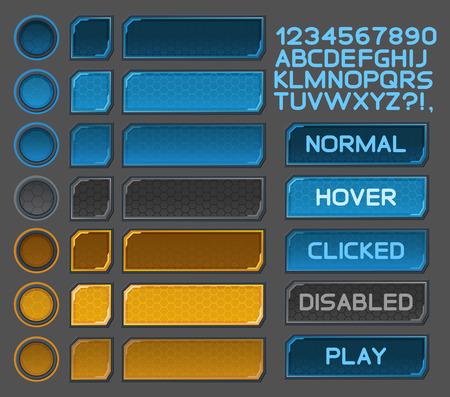 Interface knoppen voor de ruimtevaart games of apps.