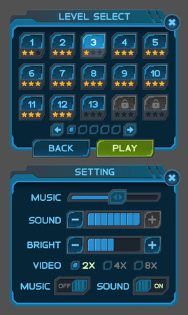 Interface buttons set for space games or apps. Vector illustration. Easy to edit. Isolated on gray Illusztráció
