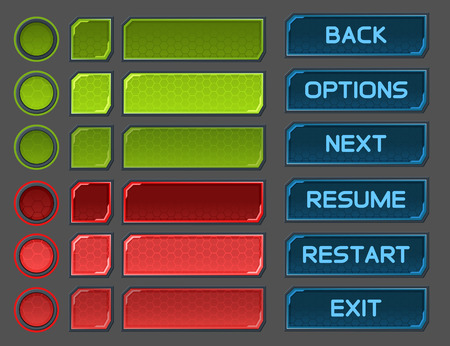 interface buttons: Interface buttons set for space games or apps.