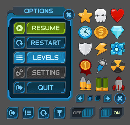 blue button: Interface buttons set for space games or apps.