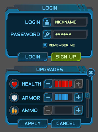 game design: Interface buttons set for space games or apps.