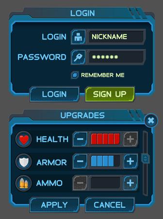 Interface Schaltflächen für die Raumfahrt-Spiele oder Apps gesetzt. Standard-Bild - 32767704