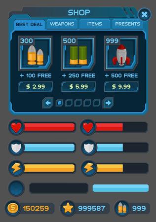 Interface Schaltflächen für die Raumfahrt-Spiele oder Apps gesetzt. Standard-Bild - 32767719