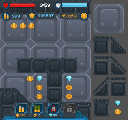 Interface buttons set for space games or apps.