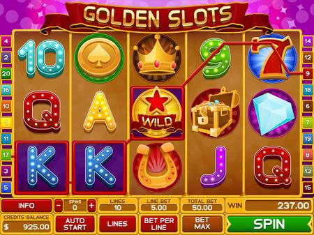 gambling game: Slots game template vector illustration