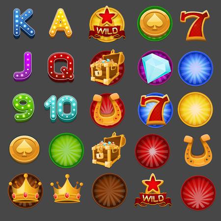 Símbolos de juego de tragamonedas. Ilustración vectorial
