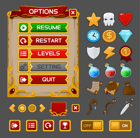 Medieval game GUI pack. Vector illustration Vettoriali