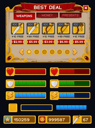 Middeleeuwse spel GUI pak. Vector illustratie