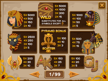 cleopatra: Info screen for slots game. Vector illustration