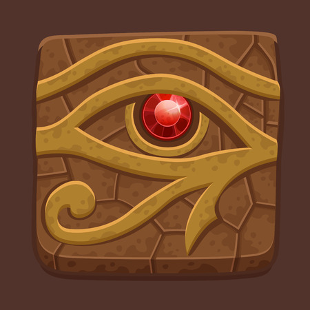 horus: Egipcia losa de piedra de ojo. Ilustración vectorial