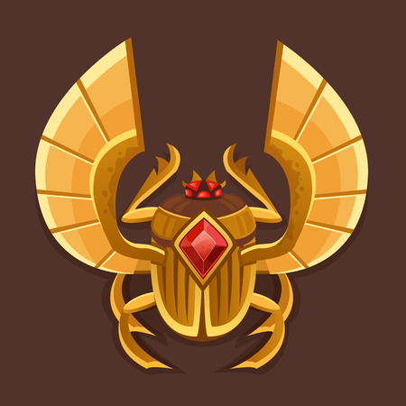 egyptian: Icon golden scarab. Vector illustration Illustration