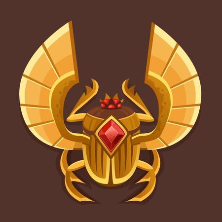 escarabajo: Icono escarabajo de oro. Ilustración vectorial
