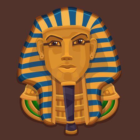 tutankhamen: Icon golden pharaoh head. Vector illustartion