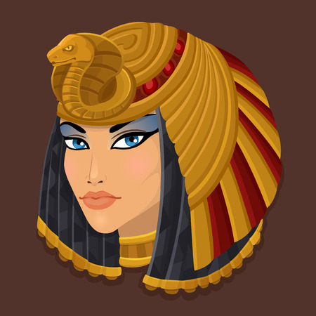 egyptian woman: Icon portrait Cleopatra. Vector illustration
