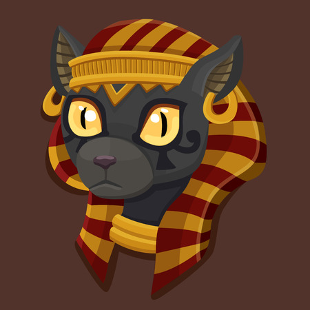 cat goddess: Icon head Bastet. Vector illustration