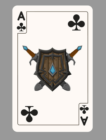 ace: The ace of clubs playing card. Vector illustration
