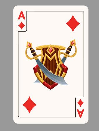 ace of diamonds: Ace of diamonds playing card. Vector illustration Illustration