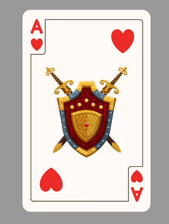 ace of hearts: Ace of hearts playing card. Vector illustration