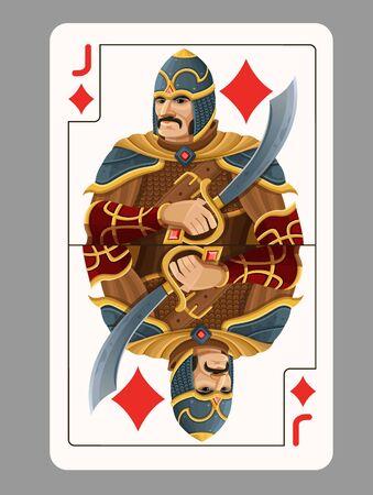 jack of diamonds: Jack of diamonds playing card. Vector illustration