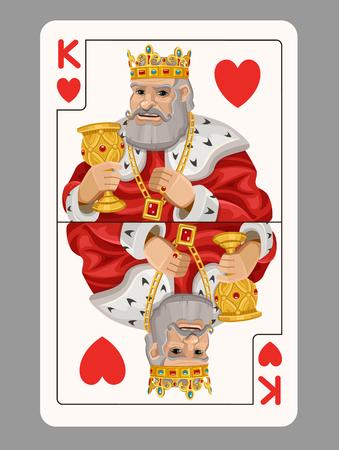 rey: Rey de corazones naipe. Ilustración vectorial