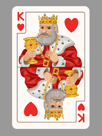 King of hearts playing card. Vector illustration