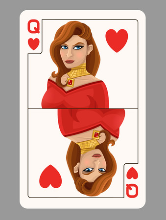 queen of hearts: Queen of Hearts playing card. Vector illustration