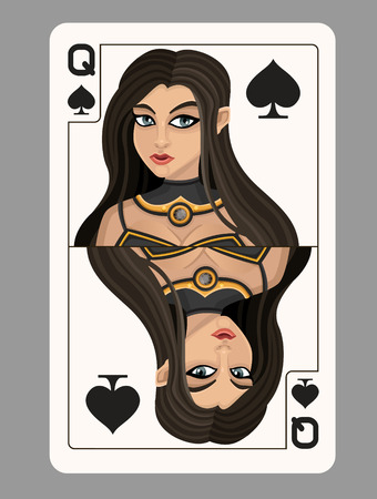 queens: Queen of spades playing card. Vector illustration
