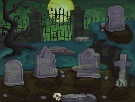 cemetery: Cemetery cartoon background. Illustration