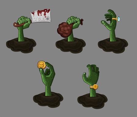 zombie: Five cartoon zombie hands.