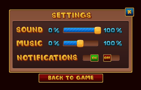 interface menu tool: Settings interface for game. Illustration