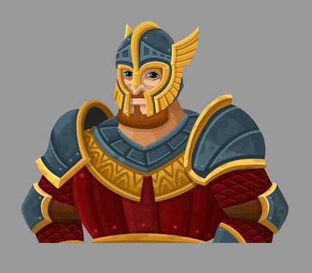cartoon knight: Cartoon warrior in armor. Illustration