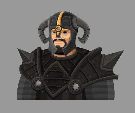 cartoon warrior: Cartoon guerriero in armatura.