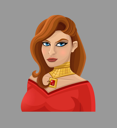 red hair: Cartoon woman in red.