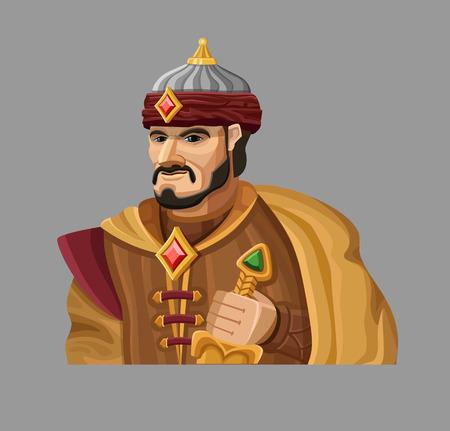 sultano: Cartoon Sultano in oro.