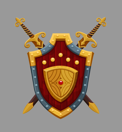 caballero medieval: Escudo rojo de dibujos animados. Vectores