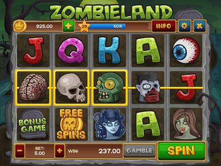 brain game: Zombie slots game. Illustration